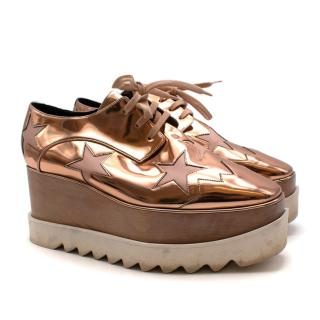 Stella McCartney Rose Gold Faux Leather Elyse Platform Sneakers
