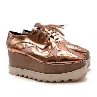 Stella McCartney Rose Gold Faux Leather Elyse Platform Sneakers