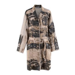 Annette Gortz Beige & Grey Print  Oversized Belted Coat