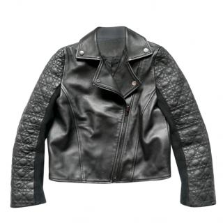 Dior Lambskin Embroidered Cannage Detail Biker Jacket