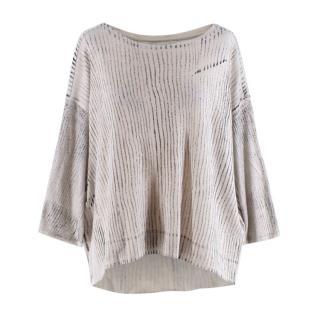 Raquel Allegra Grey Printed Cotton Blend Oversize Top