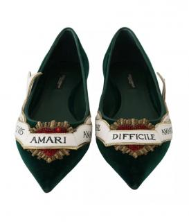 Dolce & Gabbana embellished green loafers