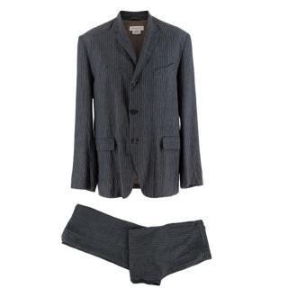 Dries Van Noten Grey Pinstripe Single Breasted Linen Suit