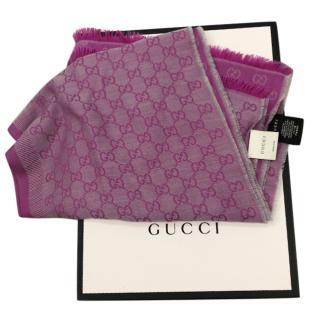 Gucci Pink Reversible Wool & Silk Scarf
