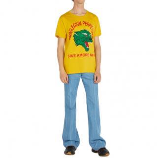 Gucci Yellow Cotton Tiger Print T-shirt