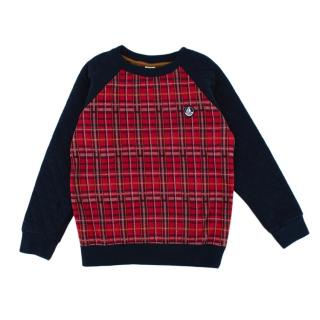 Petit Bateau Red & Blue Checkered Quilted Sleeve Sweater
