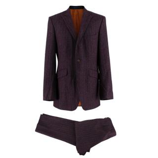 Ozwald Boateng Burgundy Wool Single Breasted Suit