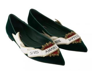 Dolce & Gabbana embellished green flat pumps