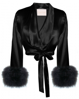 Maguy de Chadirac black satin and marabou jacket/top