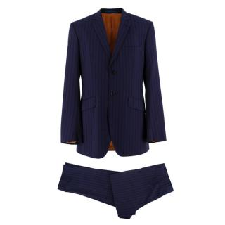 Ozwald Boateng Red & Blue Striped Wool Single Breasted Suit