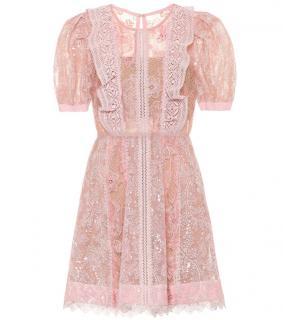 Self Portrait Pink Floral Lace Mini Dress