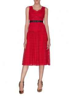 Self Portrait Red Lace Belted Midi Dress
