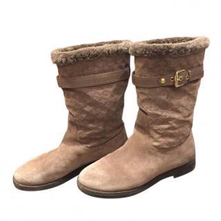 Louis Vuitton fur lined suede logo boots