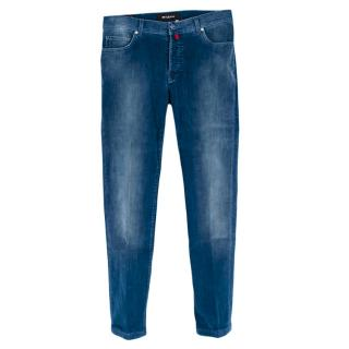 Kiton Blue Cotton Denim Effect Corduroy Trousers