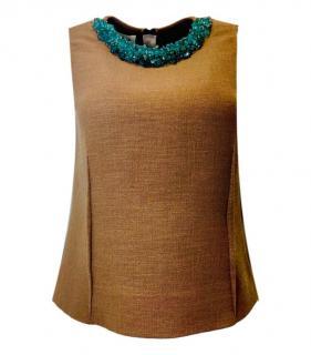 Marni Floral Embellished Collar Camel Virgin Wool Sleeveless Top