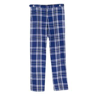 Comme des Garcons Shirt Blue linen Tartan Trousers
