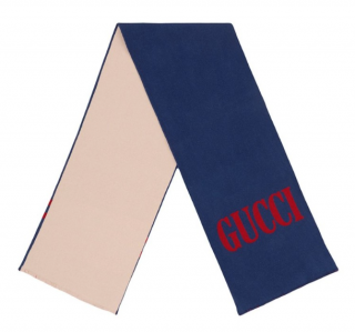 Gucci Wool & Silk Jacquard Reversible Scarf