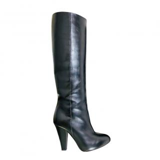 Sonia Rykiel Black Leather Knee Boots