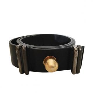 Fendi Black Leather Sphere Buckle Belt