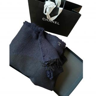 Chanel Black & Blue 220x160cm Cashmere Blanket