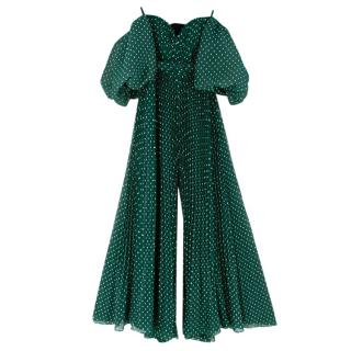 Self Portrait Green Plumetis Fil-Coupe Chiffon Jumpsuit