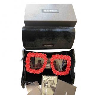 Dolce & Gabbana Rose Applique Square Oversize Sunglasses