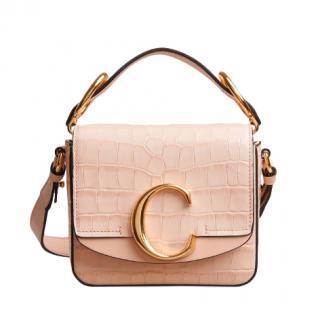 Chloe Cement PinkMini Chlo� C bag in embossed croco effect on calfskin