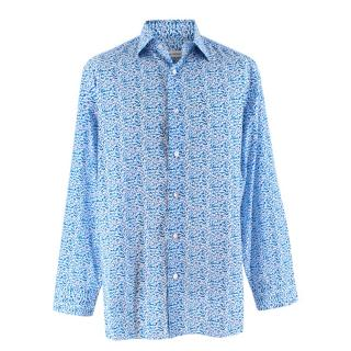 Donato Liguori White With Blue Pattern Shirt