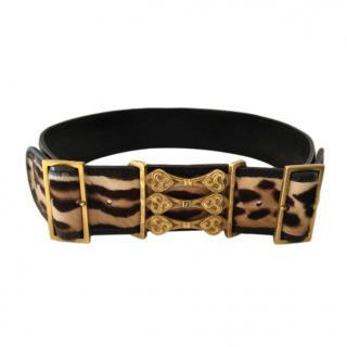 Fendi Pony Hair Leopard Print Buckle Detail Belt