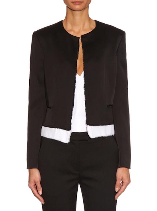 Edun Black & White Collarless Jacket