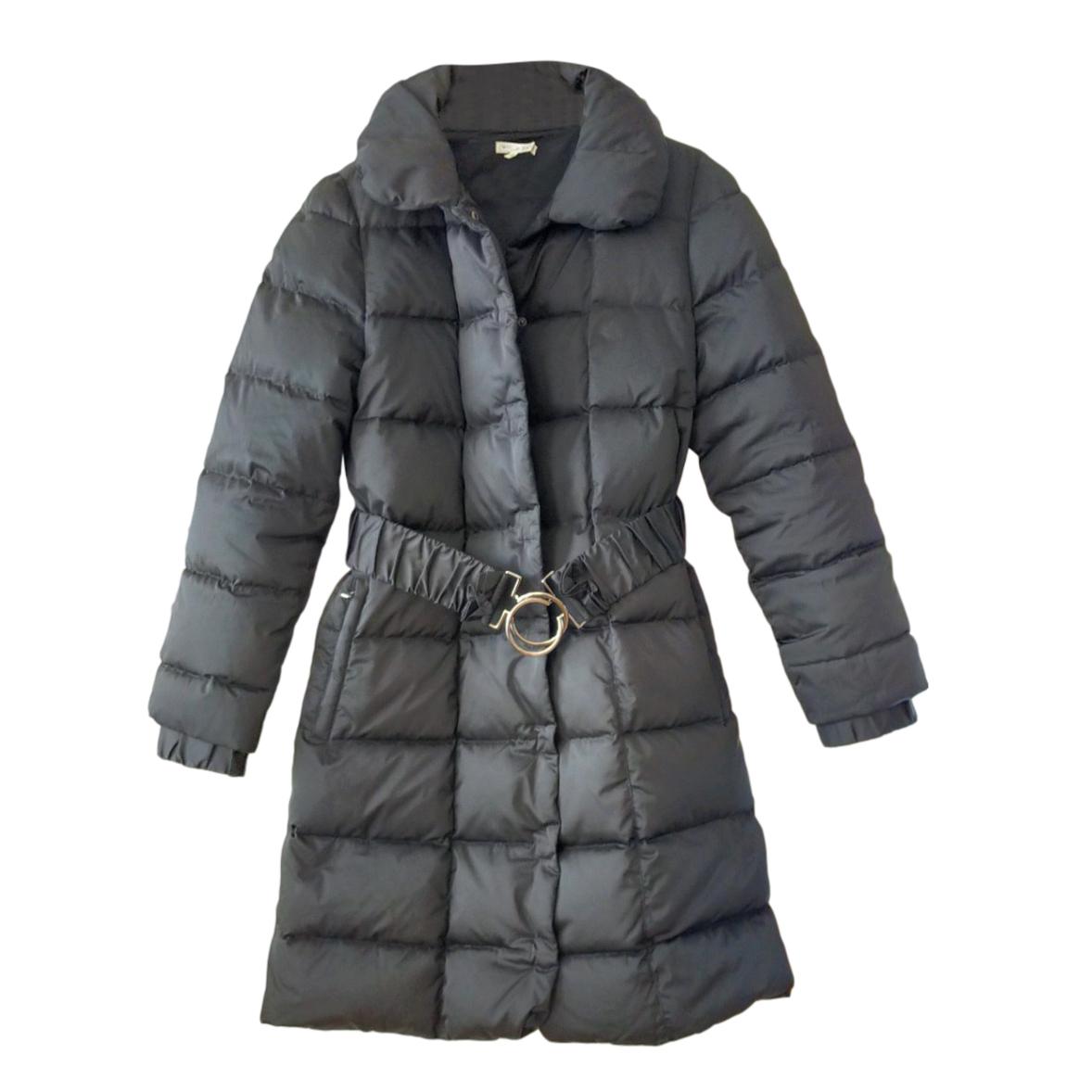Paule Ka Black Down Belted Puffer Coat