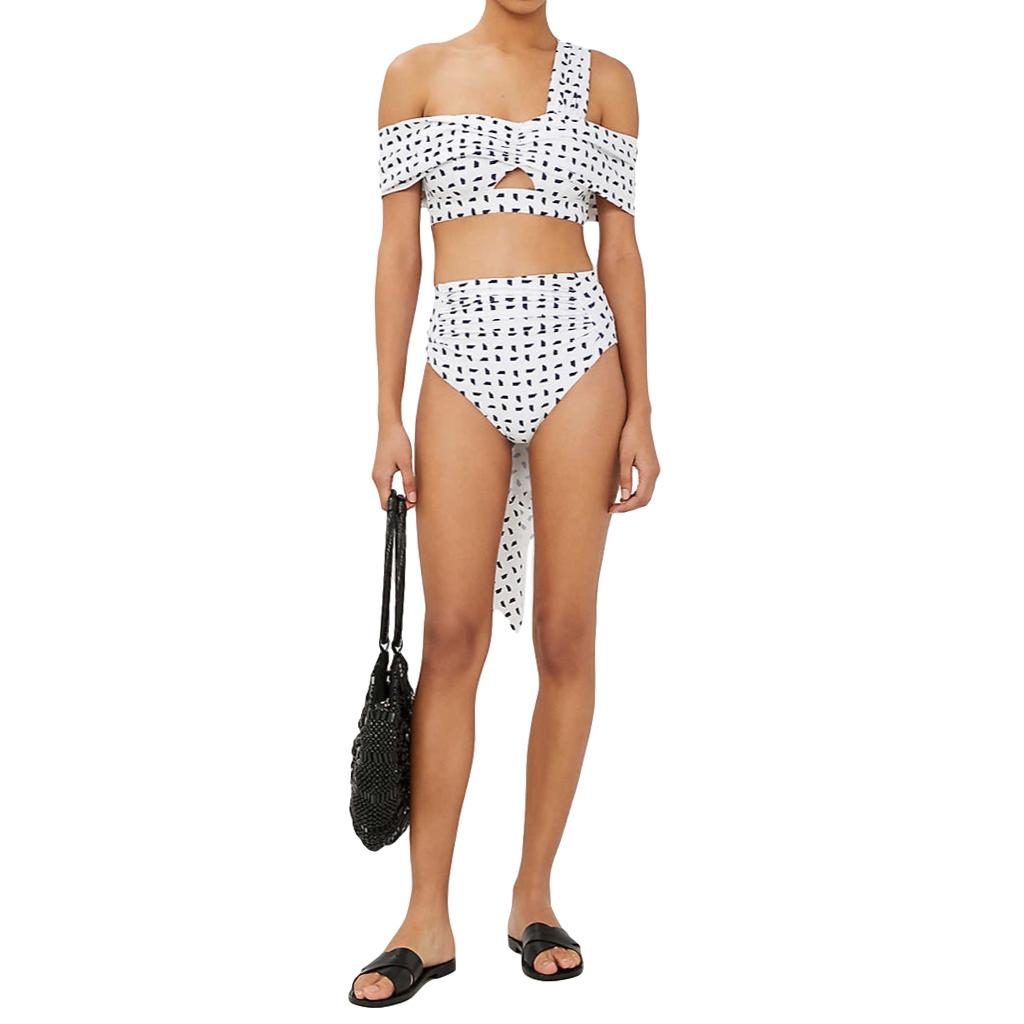 Self Portrait Sail Print Draped Bikini Top