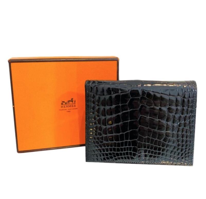 Hermes Lisse Alligator Mississippiensis Bi-Fold Black Wallet