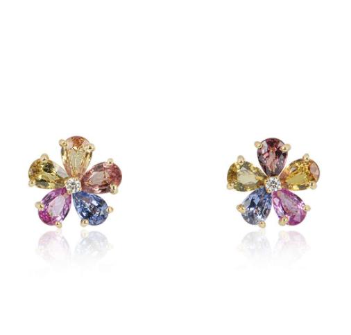 Bvlgari Yellow Gold Diamond & Sapphire Flower Earrings