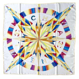 Chanel Multcoloured Star Print Silk Scarf