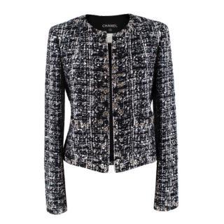 Chanel Black Mohair Blend Sequins Embellished Tweed Collarless Jacket