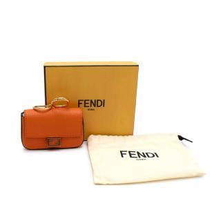 Fendi Orange Leather Nano Baguette Charm
