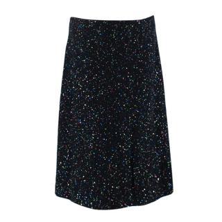 St. John Black Cotton & Wool Blend Sequin Skirt
