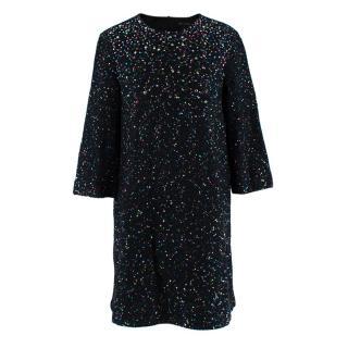 St. John Black Cotton & Wool Blend Sequin & Strass Dress