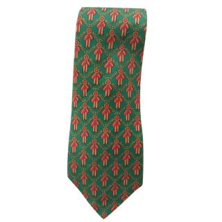 Hermes Green & Red Ribbon Silk Tie