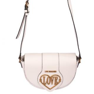 Love Moschino White Leather Saddle Bag