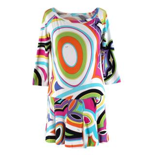 Emilio Pucci Cotton Jersey Print Long Sleeve Mini Dress