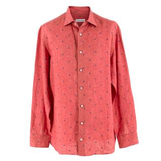 Donato Liguori Red Linen Squares Long Sleeve Tailored Shirt
