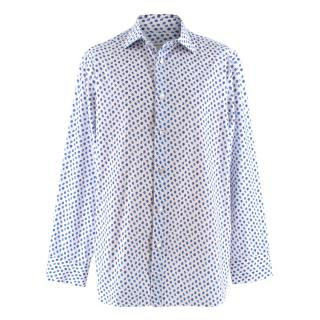 Donato Liguori Blue Cotton Strawberry Long Sleeve Tailored Shirt