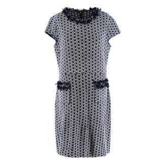 St. John Navy Wool Blend Tweed Trimmed Knit Dress