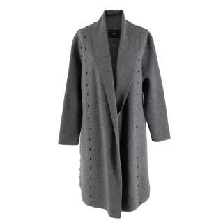 Uterque Grey Wool Blend Studded Knit Cardigan