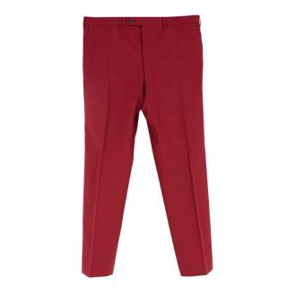 Donato Liguori Red Wool Blend Hand Tailored Trousers
