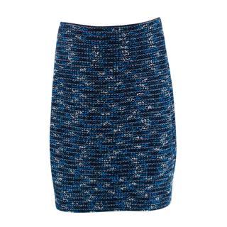 St. John Blue Wool Blend Boucle Textured Skirt