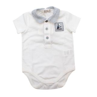 Mimu White Sustainble Cotton Babygrow with Navy Striped Collar