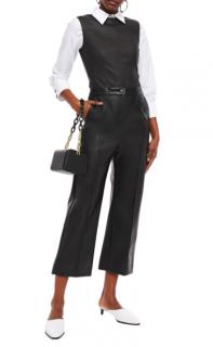 Chalayan black faux leather wide leg crop pants